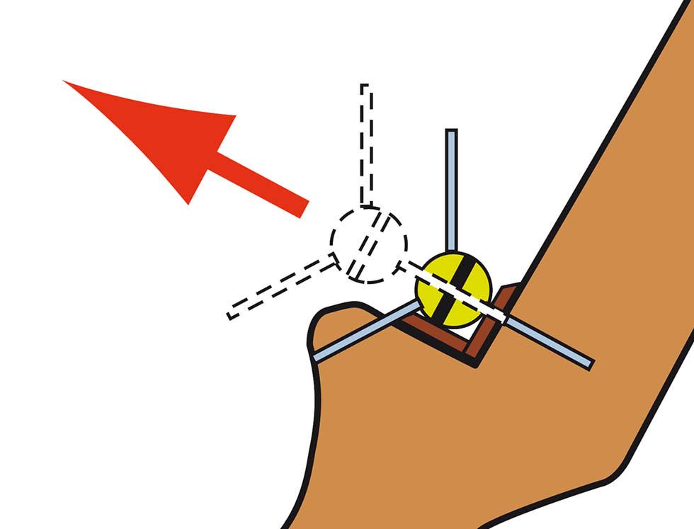 Freccia incoccata al contrario sul tappetino