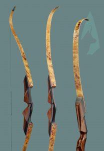 Arco ricurvo TD Testarossa con flettenti in radica e riser Ebano e Bocote