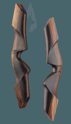 Riser dell' arco tradizionale ricurvo Testarossa in Zebrano e Wenge