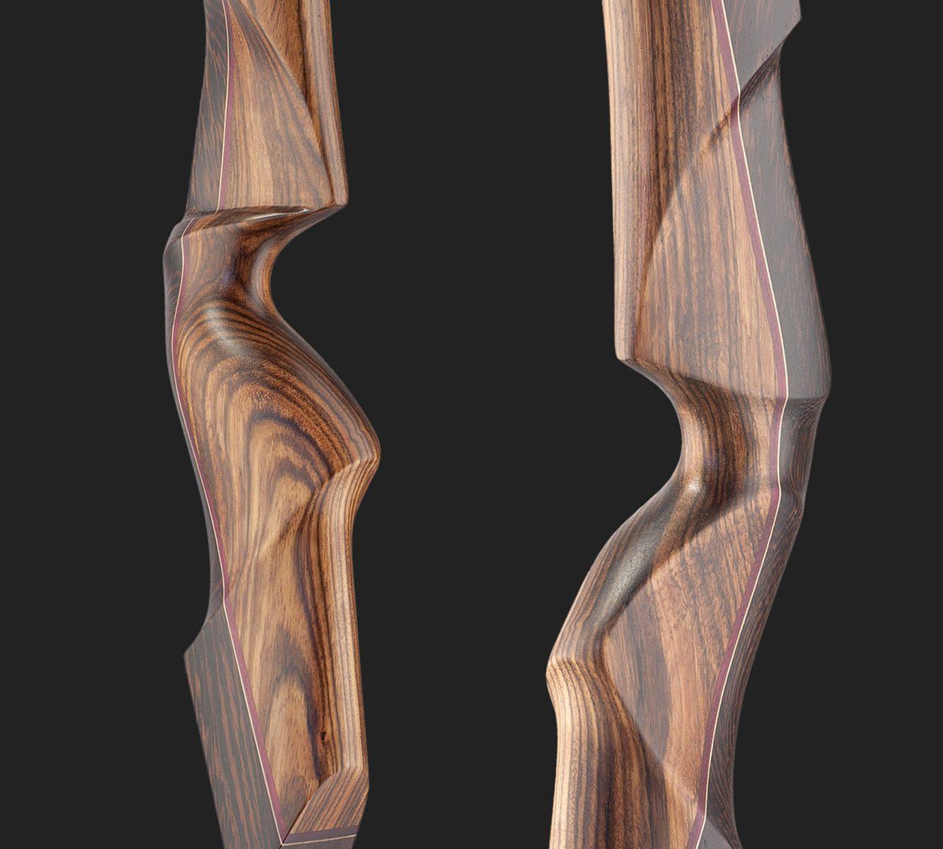 Riser dell' arco tradizionale ricurvo Testarossa in Wenge e Zebrano