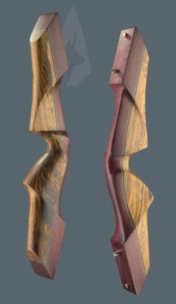 Riser dell'arco tradizionale ricurvo Testarossa realizzato con legni di Amaranto e Bocote
